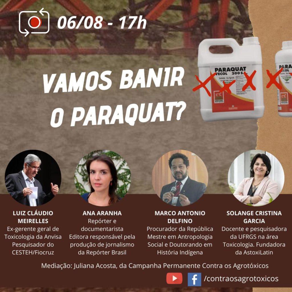Campanha Contra os Agrotóxicos coloca banimento do Paraquat como tema de debate online